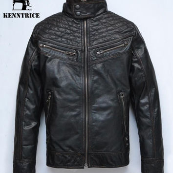 Stand Collar Real Leather Motorcycle Jacket Men Winter Genuine Leather Jacket Black Suede Coats Warm Bomber Jacket