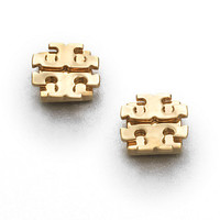 Goldtone Large Logo Stud Earrings/0.5""