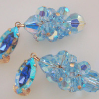 Vintage Blue Crystal Cluster Bead Chandelier Earrings / Aurora Borealis Marquise Rhinestones / Wedding Bridal / Clip / Jewelry / Jewellery