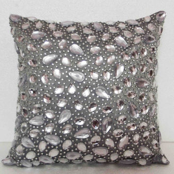 crystal pillow ; swarovski crystal ; sparkle ; grey pillow ; mom gift;housewarming ; handmade cushion in size 16x16inches