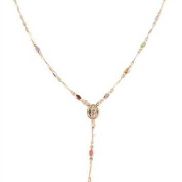 Two Year Warranty Gold Overlay Rosary Cross Pendant & Virgin Mary Charm with Multicolored Stones 18 Inch Necklace
