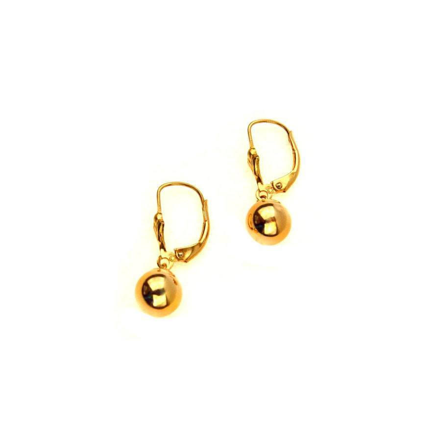 14k Gold Ball Drop Earrings Lever Back From Vera Battemarco