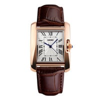 Brown SKMEI Casual Watch Women Wristwatch Leather Strap with Golden Case
