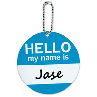 Jase Hello My Name Is Round ID Card Luggage Tag