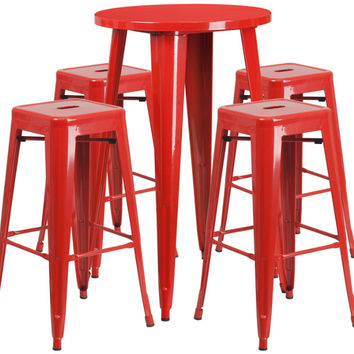 24'' Round Red Metal Indoor-Outdoor Bar Table Set with 4 Square Seat Backless Barstools