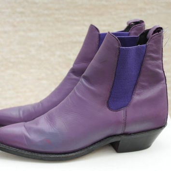 Vintage Purple Leather Pointy Toe High Ankle Boots with Heel womens 6