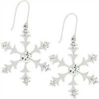 White Gold Bonded Snowflake Earrings with Round & Princess Cut Clear CZ