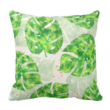 Tropical Monstera Leaves Unique Pattern Throw Pillow