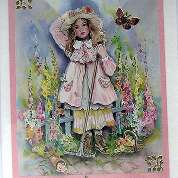How does you Garden Grow - Hand-Crafted 3D Decoupage Card - With Love (1710)