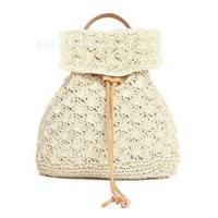 2017 Straw Backpack Drawstring Straw Bag Hollow Out School Bag Knitting Backpacks Manual Made Tote Beautiful Beach Backpack