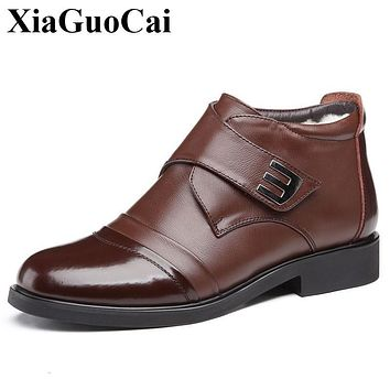XiaGuoCai New Arrival Real Leather Shoes Men Boots Winter Warm Fur Ankle Boots Black Wear-resistant Non-slip Casual Shoes H602