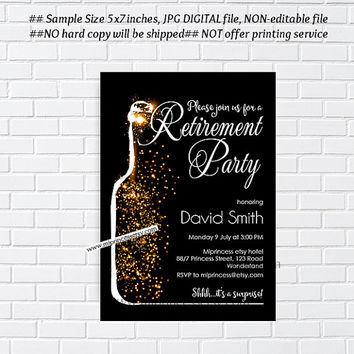 Retirement Invitations,  Retirement party Invitation,  Retirement Celebration retro vintage Invite, chalkboard blackboard design- card 1020