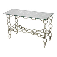 Silver Chain Console Table With Clear Glass Top Silver Leaf