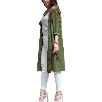 Women Trench Coat Front Pocket Long Sleeve Thin Coat Chiffon Cardigan Green  SM6
