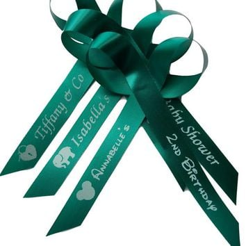 Teal Personalized Ribbons Birthday, Bridal Shower Wedding or Baby Shower Celebration Party Favor Assembled Ribbons | Pack of 25