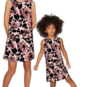 Flirty Girl Adele Shift Floral Mother and Daughter Dresses