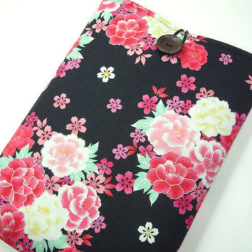 Gift For Her, Macbook Air 11 inch Case, Stylish Laptop Covers, Customize to your Laptop,Japanese Cotton Fabric Peony Black
