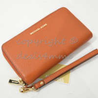 NWT Michael Kors Mercer Large Leather Smartphone Wristlet /Wallet in Orange