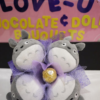 Totoro flower bouquet with Ferrero Rocher