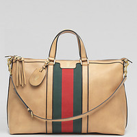 Gucci: Leather Top-Handle Duffel Bag