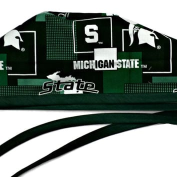 Men's Unlined Surgical Scrub Hat Cap in Michigan Spartans New Block