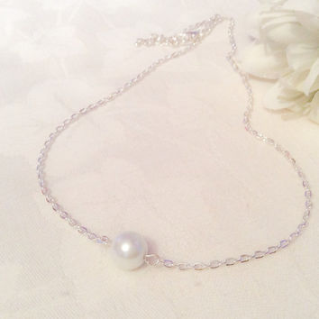 Single Pearl Necklace White Pearl Necklace Pearl Necklace Bridesmaid Necklace Bridesmaid Jewelry Wedding One Pearl Necklace