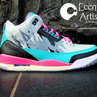 "Ecentrik Artistry — Air Jordan III ""Hot Nights In Miami"" (read description)"