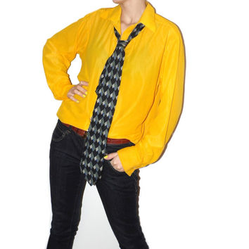 Retro Yellow Blouse Button up Unisex classic shirt Fun 80s shirt Hipster shirt Retro vintage Button down shirt Soviet Nylon Suit  Shirt
