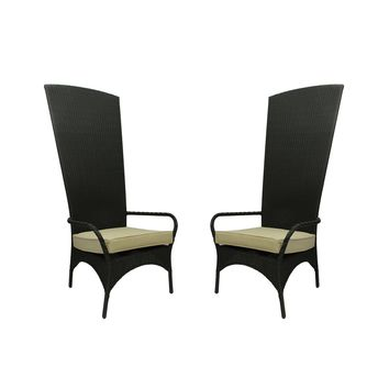 Set of 2 Black Resin Wicker Outdoor Patio King Chairs - Beige Cushions