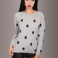 Shooting Star Cashmere Blend Sweater with Black Stars