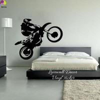 Motocross Wall Sticker Bedroom Boy Room Dirt Bike Dirtbike Moto Bike Wall Decal Kids Room Baby Nursery Vinyl Home Decor Art DIY