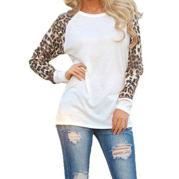 PEAPGB2 Fashion Blusas 2016 New Women Ladies Spring Autumn Long Sleeve Leopard Loose Casual Tees Tops T Shirt 3 Colors Plus Size M-3XL