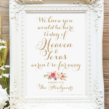 "We Know You Would Be Here Today Sign - 5 x 7 - DIY Printable sign in ""Vintage"" antique gold - PDF and JPG files - Instant Download"