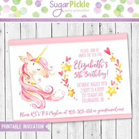 Unicorn Invitation, Unicorn Birthday Invitation, Unicorn Party, Unicorn party Invitation, Unicorn Birthday party Printable invitation