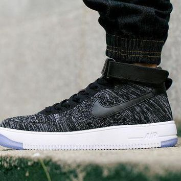 PEAPNW6 Originals Nike Air Force One 1 Flyknit Mid Black / White Running Sport Casual Shoes '07 817420-101 Sneakers