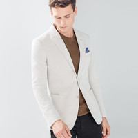Piqué blazer with elbow patches