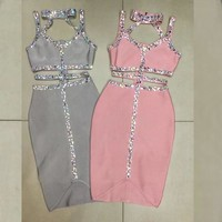 2018 Newest Fashion Pink Grey Beading Bandage Dress Sleeveless Sexy Spaghetti Strap Evening Party Bling Solid Elegant Vestidos