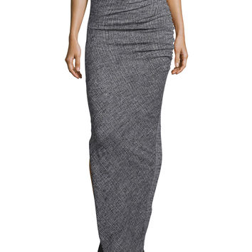 Octavia Ruched Wool Maxi Skirt, Gray, Size: