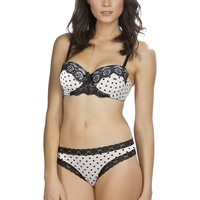 Hers by Herman Women's Baby Polka Dot Push Up Bra Bikini and Thong Set of Three