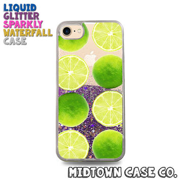 Green Limes Pattern Green Citrus Fun Vegan Cute Liquid Glitter Waterfall Quicksand Sparkles Glitter Bomb Bling Case for iPhone 7 7 Plus 6s 6