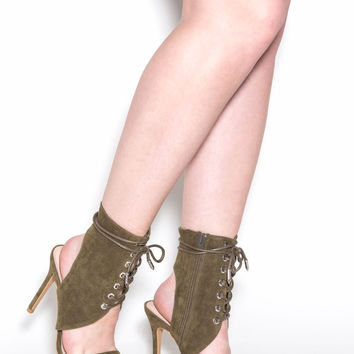 Fashionista Lace-Up Faux Suede Heels
