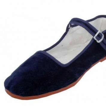 Women's Navy Color Velvet Mary Janes Shoes (36 pairs) - CASE OF 36