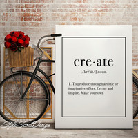 Create Typography print, Dictionary definition art, coffee print, dorm decor, Wall Art print, Typography Poster