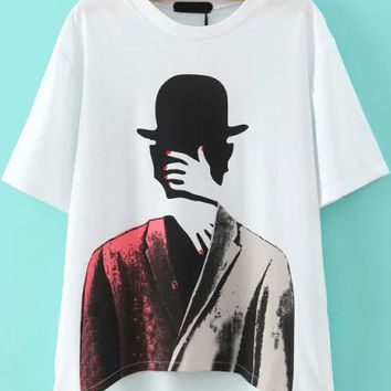 Character Printed White Short Sleeve T-Shirt