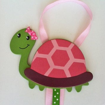 Pink Polka Dotted Turtle Hair Bow Holder and Clip Organizer... Free Shipping Promo