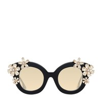 Alice + Olivia Madison Cat Eye Floral Embellished Sunglasses | Harrods.com