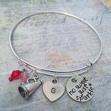 "Love To Cheer Expandable Bracelet FITS WRIST SIZE 7.0"" to 8.5"" , Cheer Jewelry, Cheerleader Jewelry, Cheer Captain, Cheer Squad, Cheer Life"