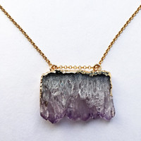 DRUZY NECKLACE, geode pendant, amethyst crystal, gold chain, druzy jewelry, purple, stone, purple necklace, amethyst stone, crystal jewelry