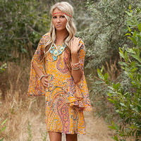 Mustard Paisley Belle Sleeved Dress