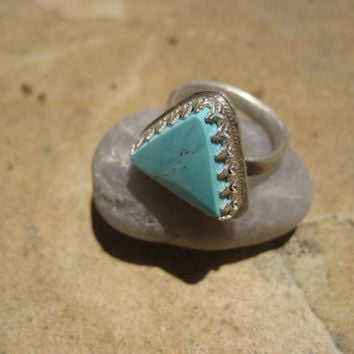 Sterling Silver Turquoise Triangle Ring- Size 3.5 4 Midi Middle Knuckle Finger Jewelry Crown Geometric Genuine Sleeping Beauty Stone